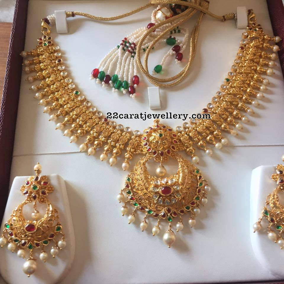 Antique Set with Gold Chandbalis - Jewellery Designs