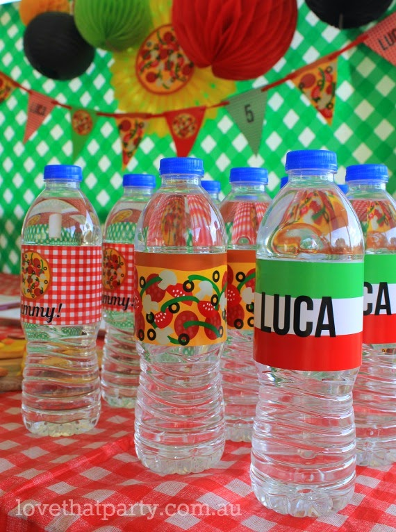 labels on water bottles at kids pizza birthday party. personalised with chil'd name.