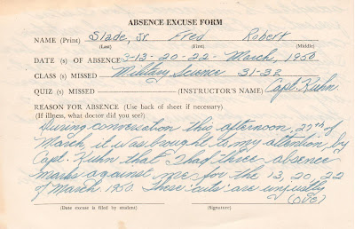 Absence Excuse Form Military Science class UVA 1950 https://jollettetc.blogspot.com