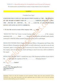 board resolution format for closing bank current account