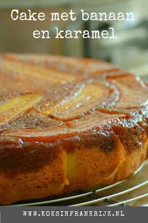 Upsidedown cake met karamel en banaan