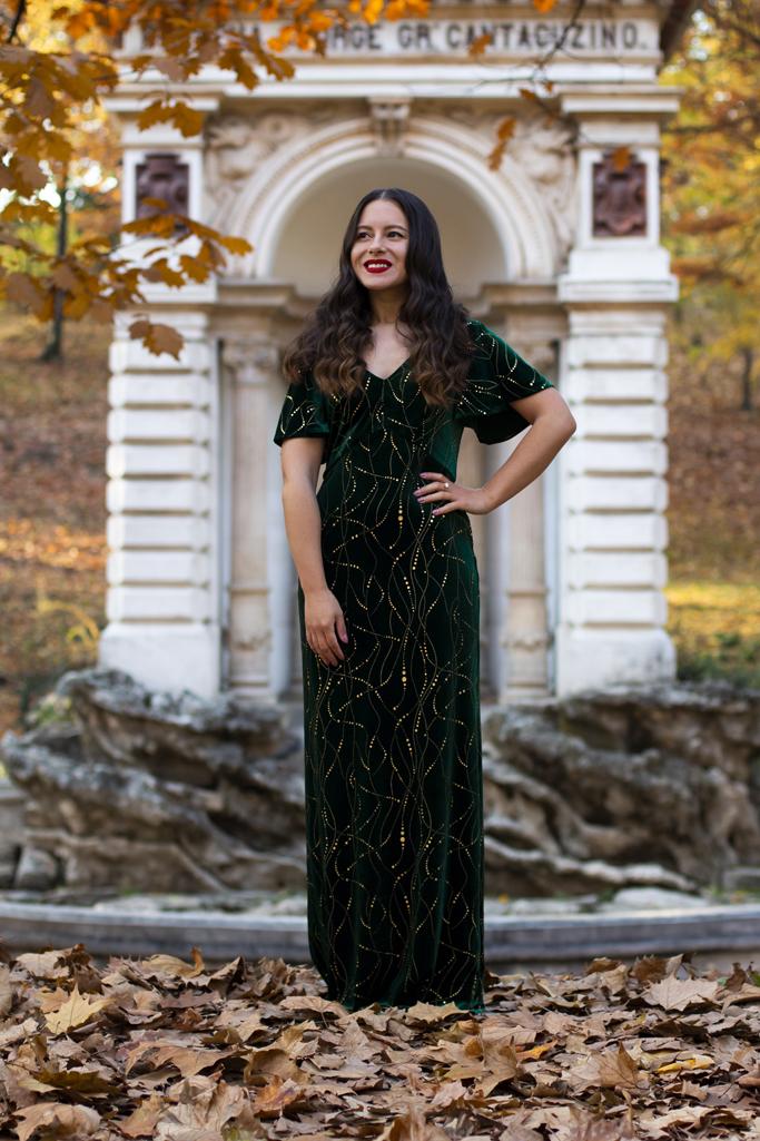 adina nanes emerald velvet dress