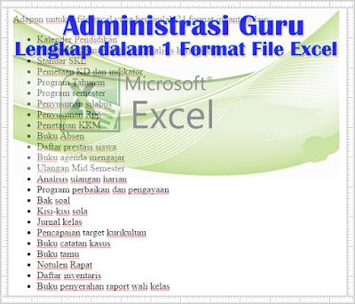 Download Administrasi Guru Lengkap dalam 1 Format File Excel