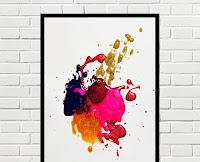 Cuadro Abstracto Multicolor Rojo Negro Dorado Fucsia