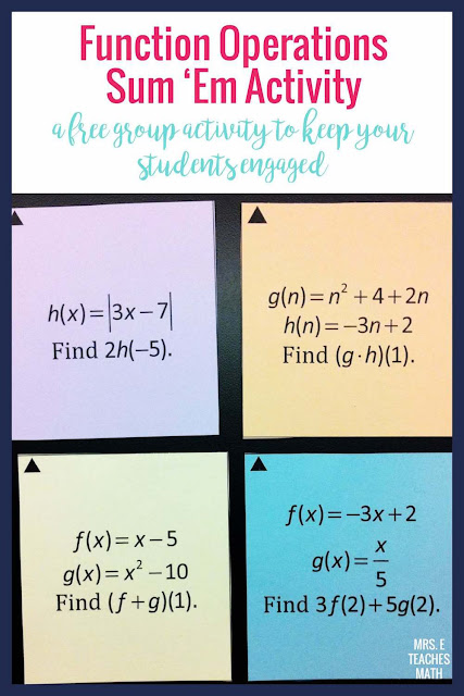 This FREE function operations and compositions activity is great for algebra 2 students learning about functions.  Better than task cards, it keeps students engaged the whole class period!