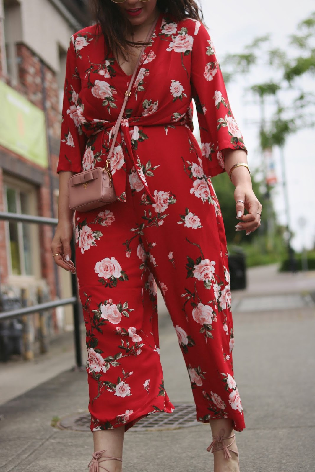 floral jumpsuit dynamite red outfit mini prada bag vancouver blogger aleesha harris