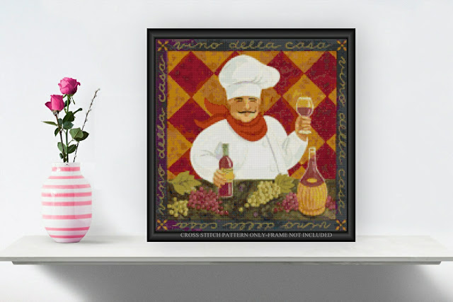 The Wine Chef Cross Stitch Pattern