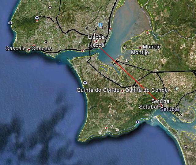 Mapa de acesso a Setúbal, Portugal
