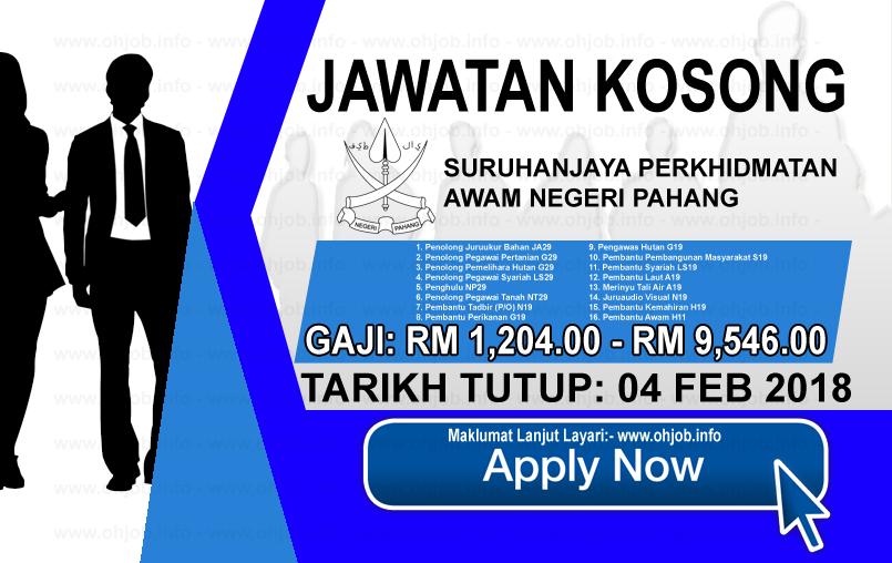 Jawatan Kerja Kosong Suruhanjaya Perkhidmatan Awam Negeri Pahang logo www.ohjob.info februari 2018