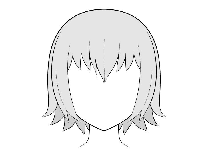 Anime menggambar rambut kering