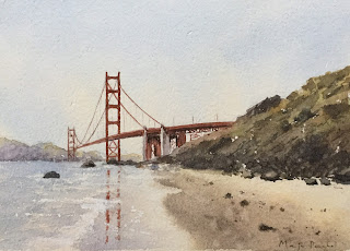 Watercolor painting of Golden Gate Bridge on Chitrapat handmade paper