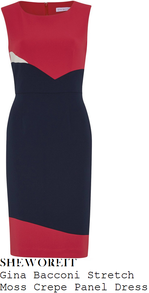 susanna-reid-gina-bacconi-cranberry-red-navy-blue-and-white-colour-block-panel-detail-sleeveless-high-waisted-tailored-pencil-shift-dress