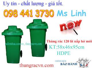 thùng rác nhựa 120 lít hở
