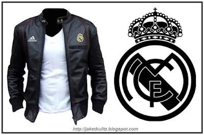Gambar jaket kulit ariel real madrid fullblack