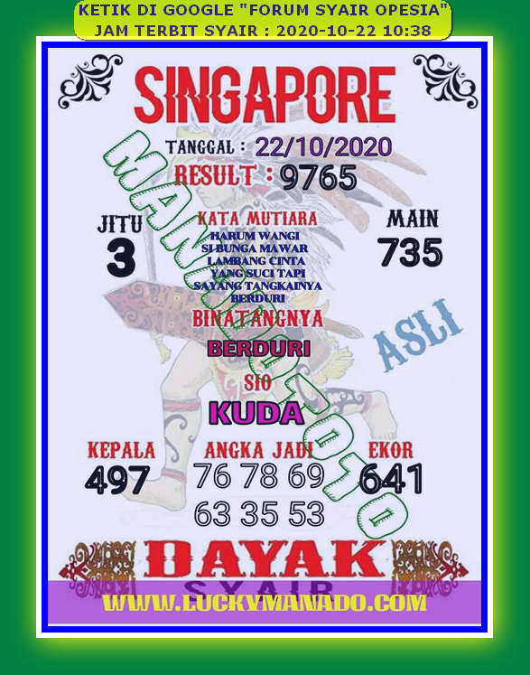 Kode syair Singapore Kamis 22 Oktober 2020 93