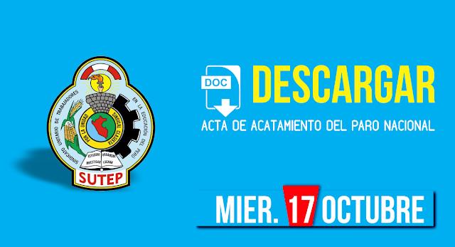 ACTA DE ACATAMIENTO DEL PARO NACIONAL