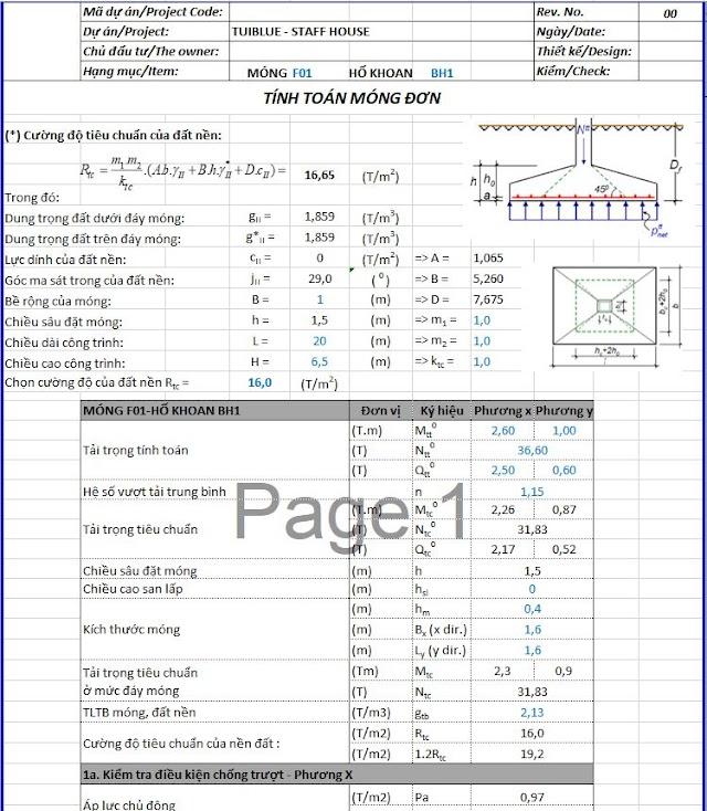 Bảng tính móng đơn chuẩn