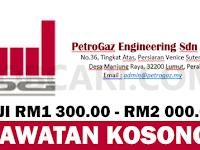 JAWATAN KOSONG TERBARU DI PETROGAZ SDN BHD - GAJI RM1 300.00 - RM2 000.00