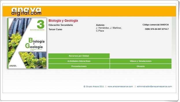 """Anaya Digital: """"Biología y Geología de 3º de Secundaria"""""""