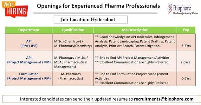 Biophore India | Hiring for API & Formulations Project Management | Send CV