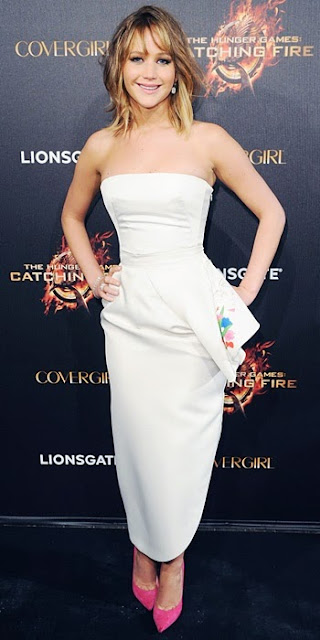 Jennifer Lawrence in Christian Dior and Jimmy Choo 'Anouk' pumps in Cannes 2013
