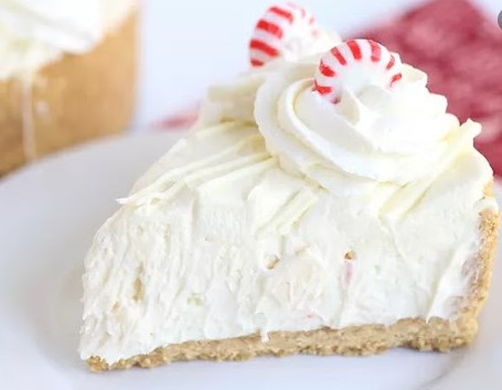 NO BAKE CHEESECAKE WHITE CHOCOLATE AND PEPPERMINT