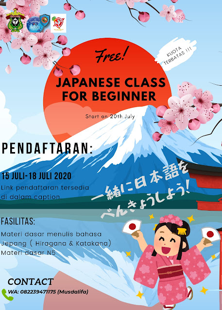 JAPANESE CLASS FOR BEGINNER (Pendaftaran 15 Juli-18 Juli 2020)