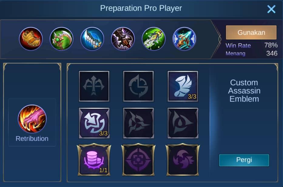 build item wanwan mobile legends (ML)