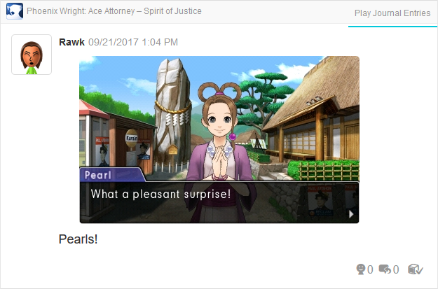 Phoenix Wright Ace Attorney Spirit of Justice Pearl Fey pleasant surprise