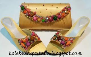 Gold Tas Pesta Slop Pesta Payet Marmer Warna Warni Handmade Murah