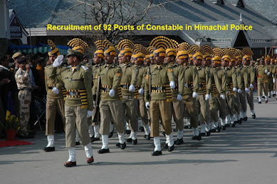 Recruitment of 92 posts of Police Constable in Himachal Pradesh Police Department