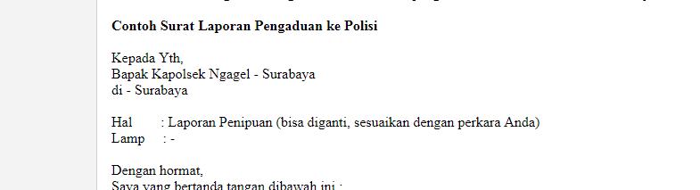 Contoh Membuat Surat Laporan Pengaduan Ke Polisi Bacanulis Com
