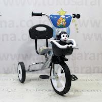 Sepeda Roda Tiga BMX PMB 919-SM Chrome Pernekel Keranjang Musik Sandaran