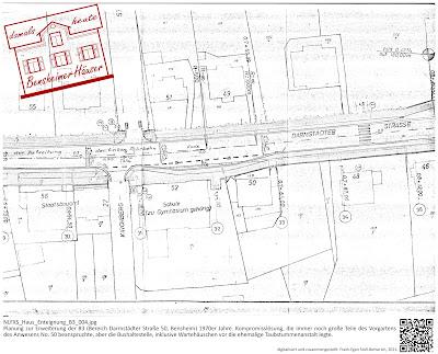 Bensheimer Häuser - Die Erweiterung der B3 - Darmstädter Straße 50 - Planung einer Bushaltestelle 1970 - Die Kompromisslösung