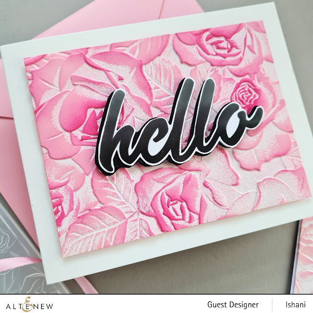 Embossing folder card, Craft your life Project kit - Garden rose, How to use embossing folder video tutorial,  Altenew Garden rose, Rose card, heat embossing with embossing folders, , Quillish, Ishani