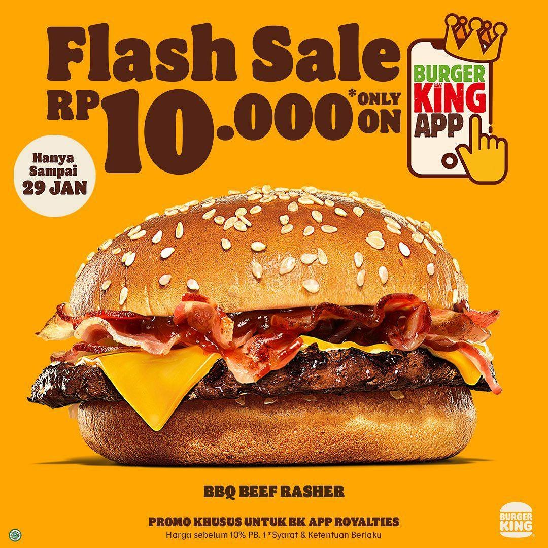 BURGER KING Promo FLASH SALE – BBQ BEEF RASHER hanya Rp 10Ribu