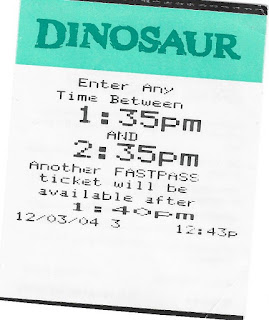 Dinosaur Fastpass Disney's Animal Kingdom 2004
