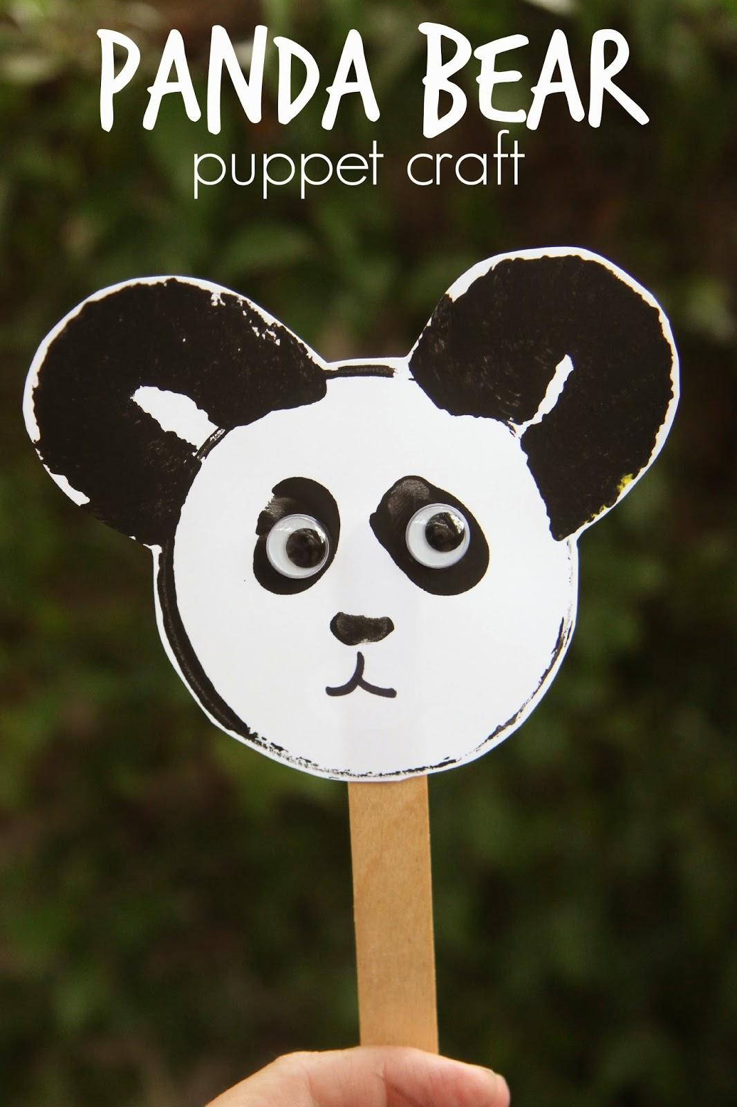 Toddler Approved Panda Bear Puppet Craft