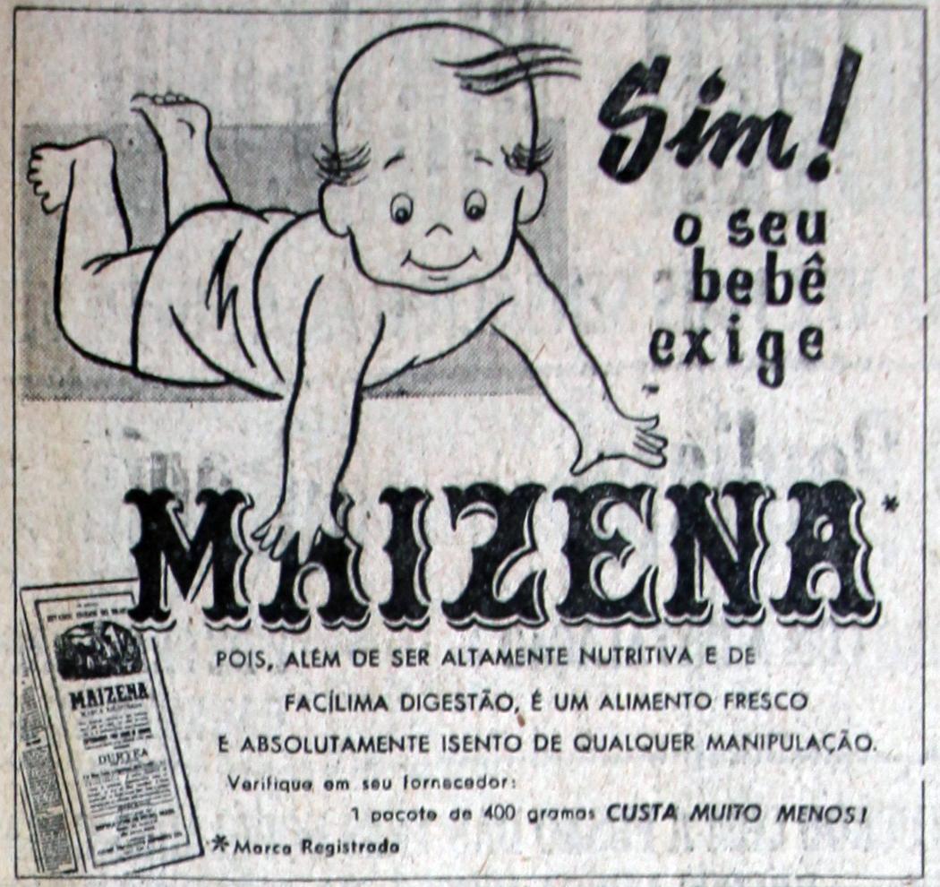 Propaganda antiga da Maizena de 1957 com indicação para alimentação de bebês