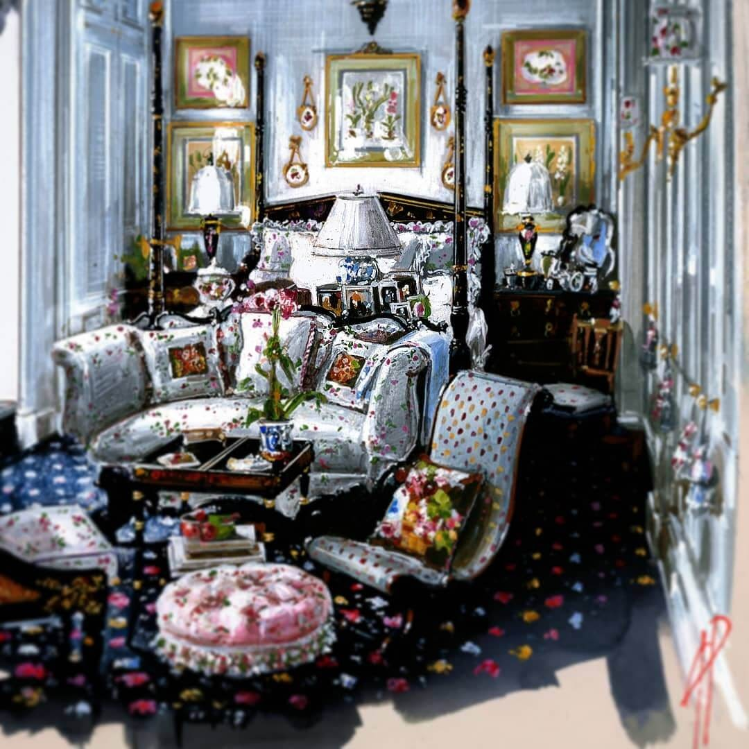 07-Four-Poster-Bed-Andrea-Prandini-Interior-Design-Drawings-and-Paintings-www-designstack-co