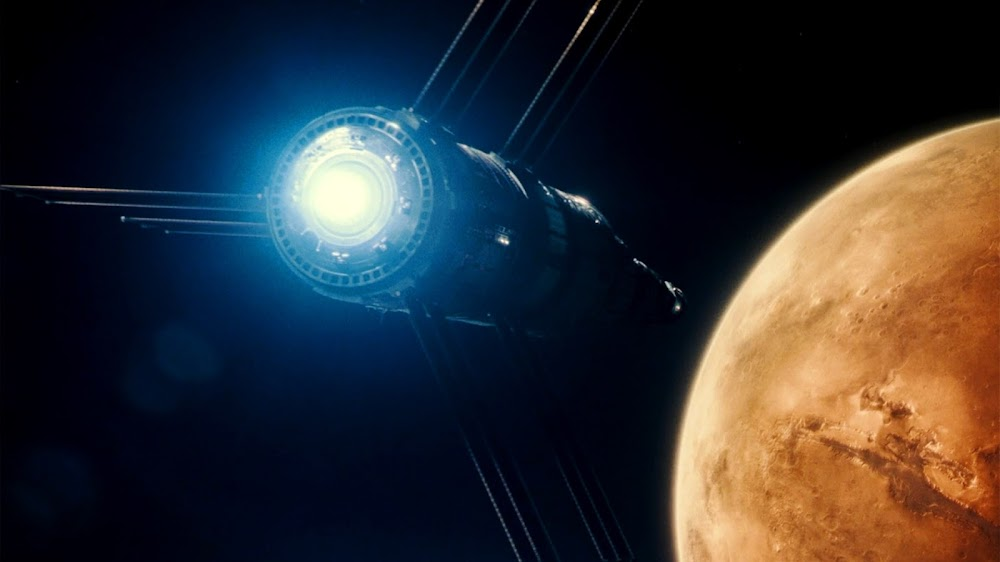 Spaceship approaching Mars - image from Ad Astra movie