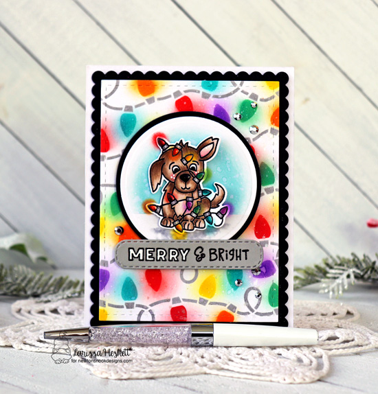 Puppy in christmas lights card by Larissa Heskett | Christmas Puppies Stamp Set, Frames & Flags Die Set and Holiday Lights Stencil Set by Newton's Nook Designs #newtonsnook #handmade