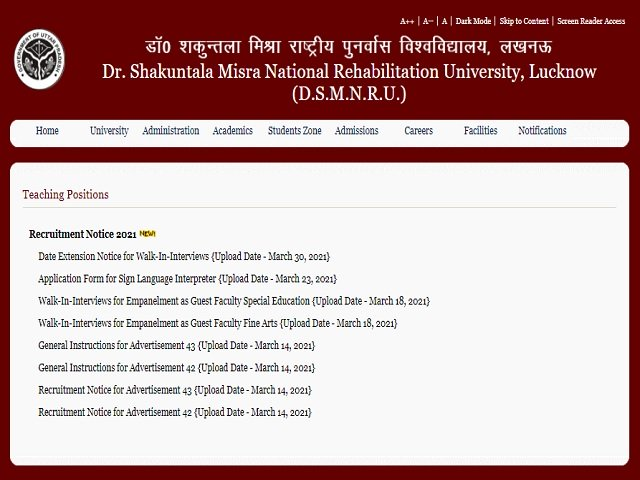 DSMNRU Recruitment 2021: Apply Online for 96 Professor Posts before 23 April