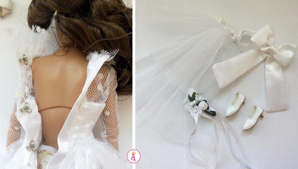 Свадебное белое платье для куклы Poppy Parker