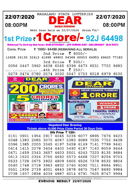 Nagaland State Lotteries 22-07-2020 Lottery Sambad Result 8:00 PM