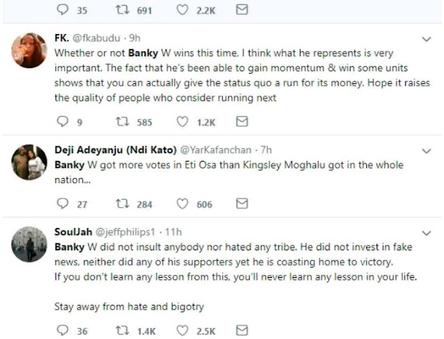 Nigerians Are Prouds Of Banky W As He Continues Winning Streak Across Polling Units