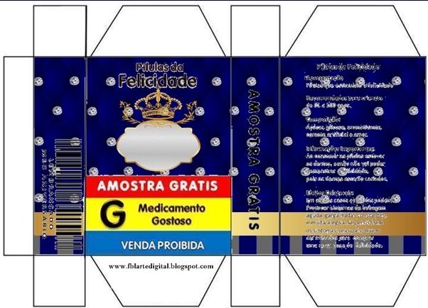 Cajas de Corona Dorada en Azul y Brillantes para imprimir gratis.