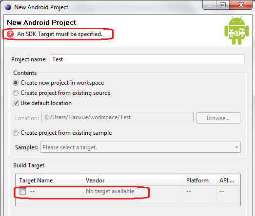 Eclipse Android error - An SDK Target must be specified