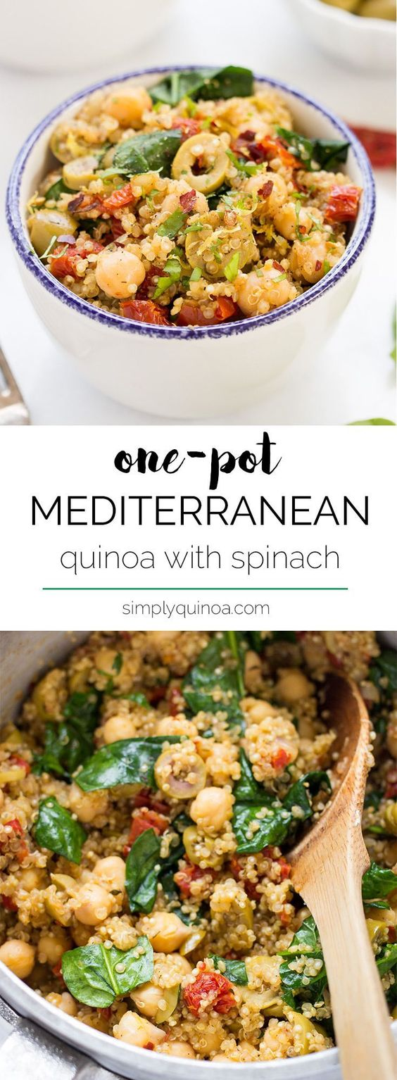 One-Pot Mediterranean Quinoa with Spinach + Chickpeas