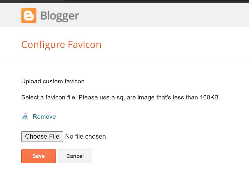 save favicon di dashboard blogger
